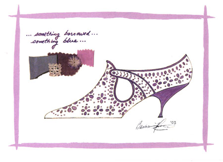 Barbra Music Shoes greeting cards: Borrowed Blue Wedding Shoe greeting cards