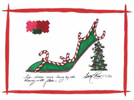 Barbra Music Shoes greeting cards: Christmas Shoe: 'The Shoes Were Hung' greeting cards