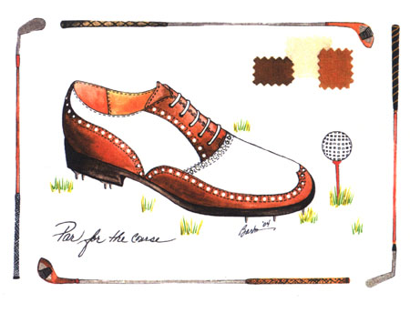 Barbra Music Shoes greeting cards: Dad's Golf Shoe greeting cards