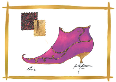 Barbra Music Shoes greeting cards: Paisley Boot greeting cards