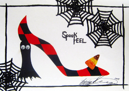 Barbra Music Shoes greeting cards: Spook Heel  greeting cards